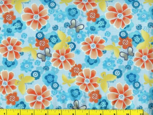 Orange Flowers w//  Butterflies on Blue Flowers Quilting Fabric by Yard  #1053