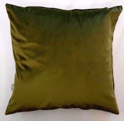 """UK MADE Super Doux lisse Velours Olive Vert mousse 18/"""" Housse De Coussin £ 6.99 chaque"""