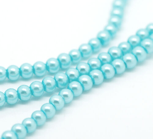 9c 2 x 32inch STRAND 4mm AQUA BLUE PEARL ROUND GLASS BEADS~Bracelets~Necklace