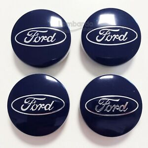4-Caps-Hubcap-Blue-for-Ford-54MM-Fiesta-Focus-Mondeo-Ford-C-Maz-Alloy-Wheels