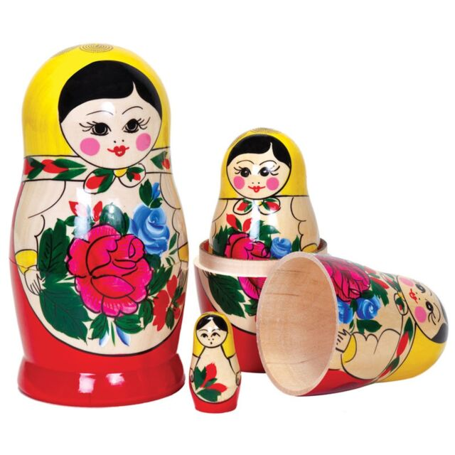 Russian Dolls Nests Traditional Wooden bright Colours Classic Toy Gift Child