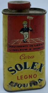 Cera Solex Legno Liquida Scatola In Latta Vintage Anni 70' Da Collezione