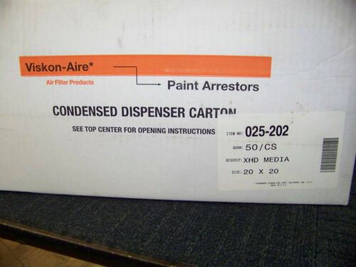 """Viskon-Aire 20/"""" x 20/"""" x 2.5/"""" XHD Paint Arrestor 025-202 1 Case 50 Ea"""