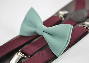 Sage-Green-Bow-tie-Burgundy-Wine-Red-Suspenders-Braces-for-Men-Youth-or-Boy