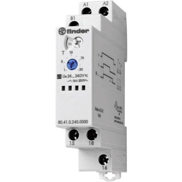 6 F 80.41.0.240.0000 Timer 0,1s-24h SPDT 250VAC//16A 24-240VAC 24-240VDC DIN PIN
