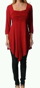Ladies red Fun /& Flirty 3//4 Vpeak Hemmed Tunic Dress BNWT Size 18,20,22,24,26