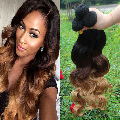 "14""-28"" Ombre  Brazilian Real Body Wave 3 tone Human Hair Extensions 50g"