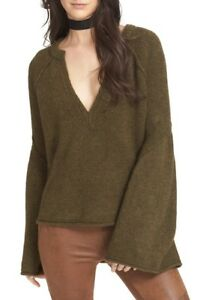 Folk Olive Bell Gratis Pullover L Green Nwt M Sleeve Lovely 168 Sweater Lines RPnF6Ea