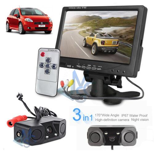"""Kit Retromarcia Monitor 7/"""" Telecamera Doppio Sensore di Parcheggio per Auto"""