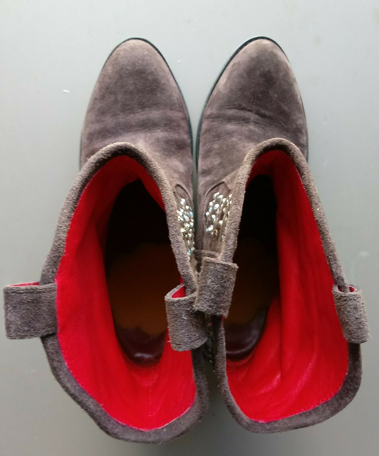 Beverly Feldman 1947 ALL LEATHER COW COW COW BOY Rhinestone brown suede Boots size 7B 794060