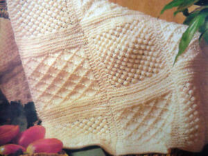 Aran Knitting Pattern Copy Afghan Squares Throw 8 Ply Easy