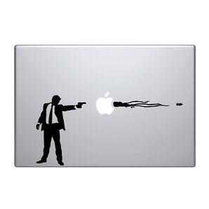 """Macbook Aufkleber Sticker Decal skin Air Pro 11"""" 13"""" 15"""" 17"""" zoll waffe gun man"""