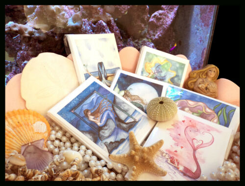CHRISTMAS MIX MERMAID NOTE CARDS from Original Watercolors by Camille Grimshaw