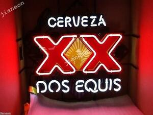 Handcrafted-New-Rare-Cerveza-XX-Dos-Equis-REAL-GLASS-NEON-SIGN-BEER-BAR-LIGHT