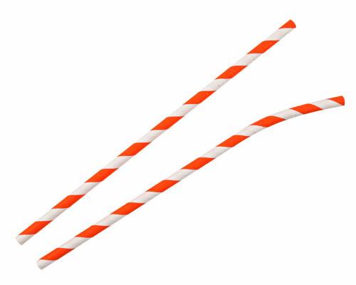 Papier Strohhalme Trinkhalme mit Knick gestreift 19,5 cm Ø 6 mm 6 Farben Auswahl