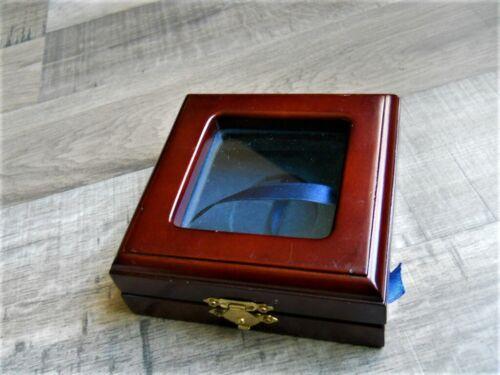 Blue Felt Ribbon Rustic WEDDING Ceremony RING BEARER BOX Dark Brown Wood
