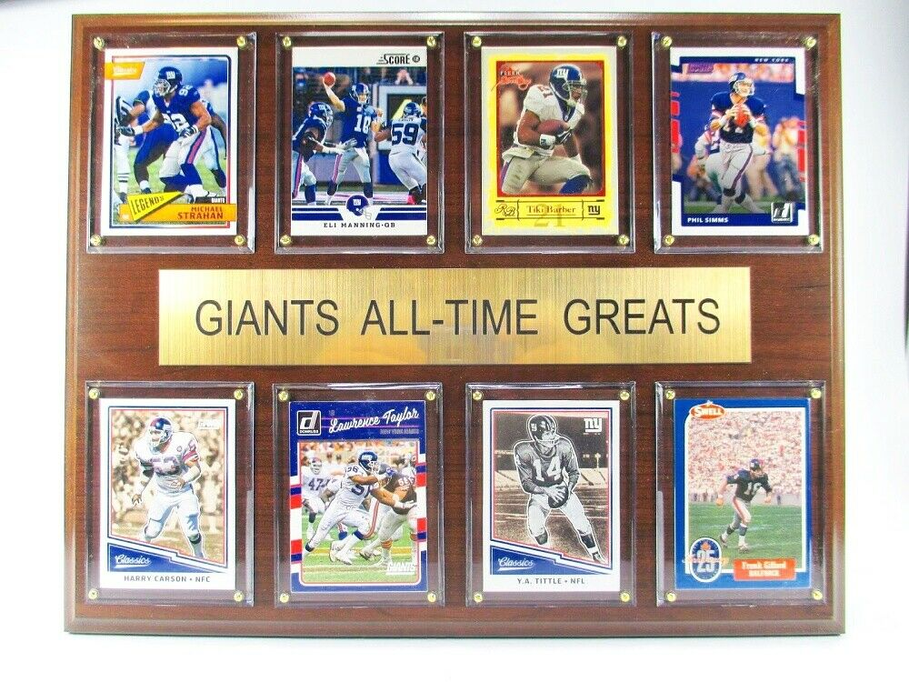 New York Giants all Time Greats Wood Wall Picture 38 cm, Plaque NFL Football