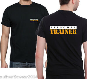 Personal trainer t shirt printed front back black gym for Personal t shirt printing