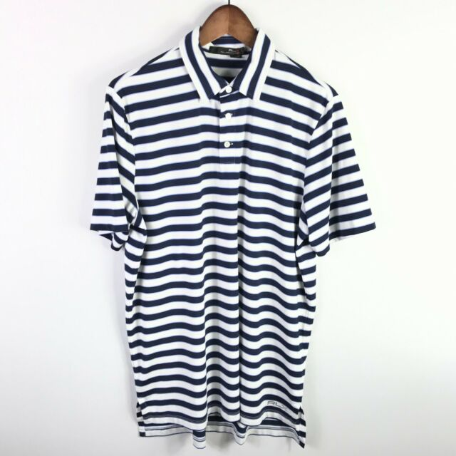 Ralph Lauren RLX Mens Golf Polo Shirt Size Large White Striped Short Sleeve