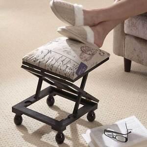 Ordinaire Image Is Loading Greenhurst Adjustable Footstool  Padded Wooden Stool 3 Height