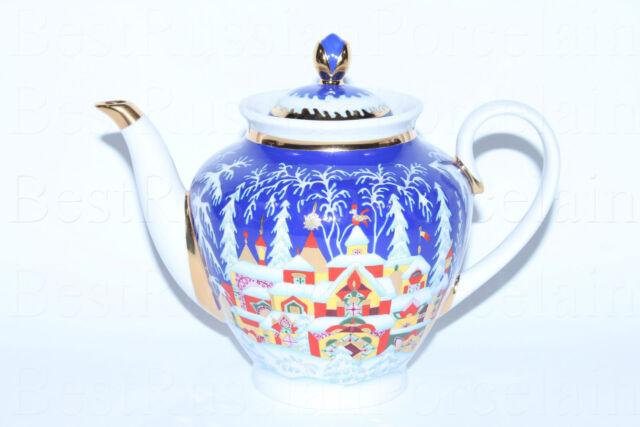 EXCLUSIVE Russian Imperial Lomonosov Porcelain Teapot Winter Tale 22k Gold Lfz