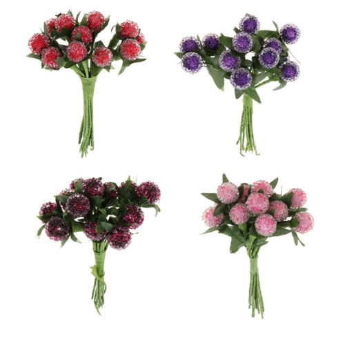 12pc Bunches Artificial Round Heads Glass Flower Bouquet Party Wedding Decor