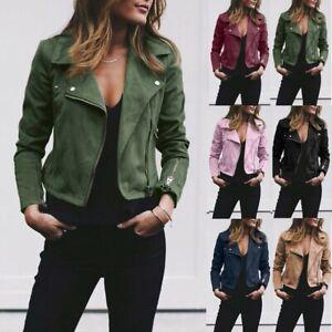 Women-039-s-Ladies-Suede-Leather-Jacket-Ladies-Zip-Up-Biker-Blazer-Coat-Outwear-Tops