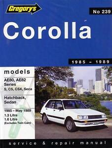 gregorys repair manual toyota corolla ae80 82 1985 1989 ebay rh ebay ie Toyota Corolla AE110 Toyota Corolla Ae81