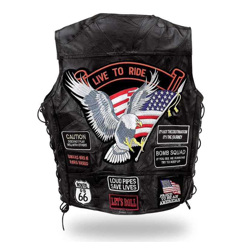 Sleeveless Vest Leather Multi Patch   Eagle   Live to Ride   Available S to 7XL