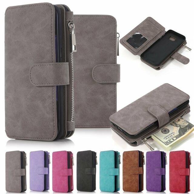 online retailer eeec0 a7402 For Samsung Galaxy Note 5 Genuine Leather Wallet Zipper Flip Card Case  Cover US