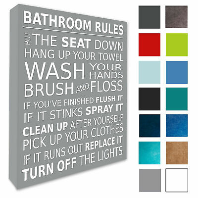 Bathroom Wall Picture Bathroom Rules Wall Art Decor Canvas Prints 4 Sizes 022 Ebay