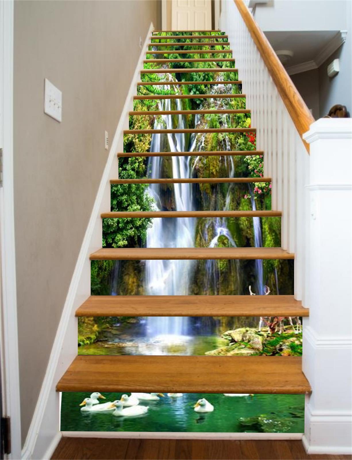 3D Hirsch Fluss 780 Stair Risers Dekoration Fototapete Vinyl Aufkleber Tapete DE