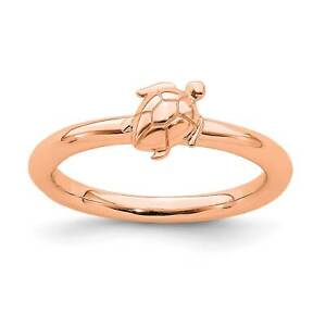 925-Sterling-Silver-Rose-Gold-Plated-Turtle-Stackable-Ring-Sz-5-10