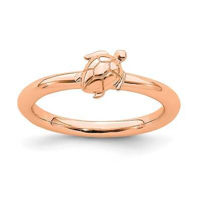 .925 Sterling Silver Rose Gold Plated Polished Flat Stackable Ring Sz 5-10