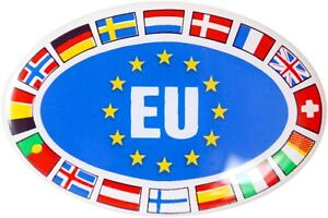 Europa-Staaten-Schild-Relief-Emblem-Aufkleber-3D-Dekor-HR-Art-19308