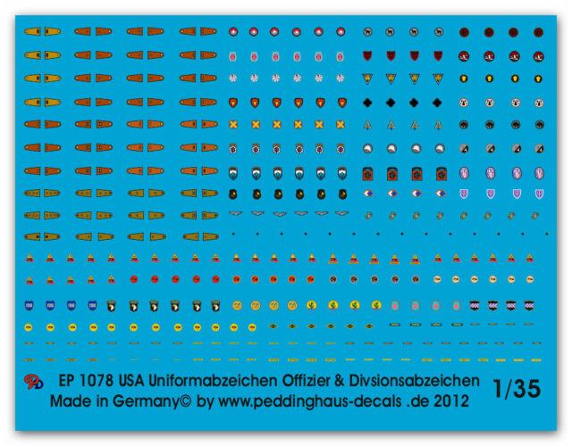Peddinghaus-Decals 1//35 1078 USa Uniformabzeichen Offiziere /& Divisonszeichen /&