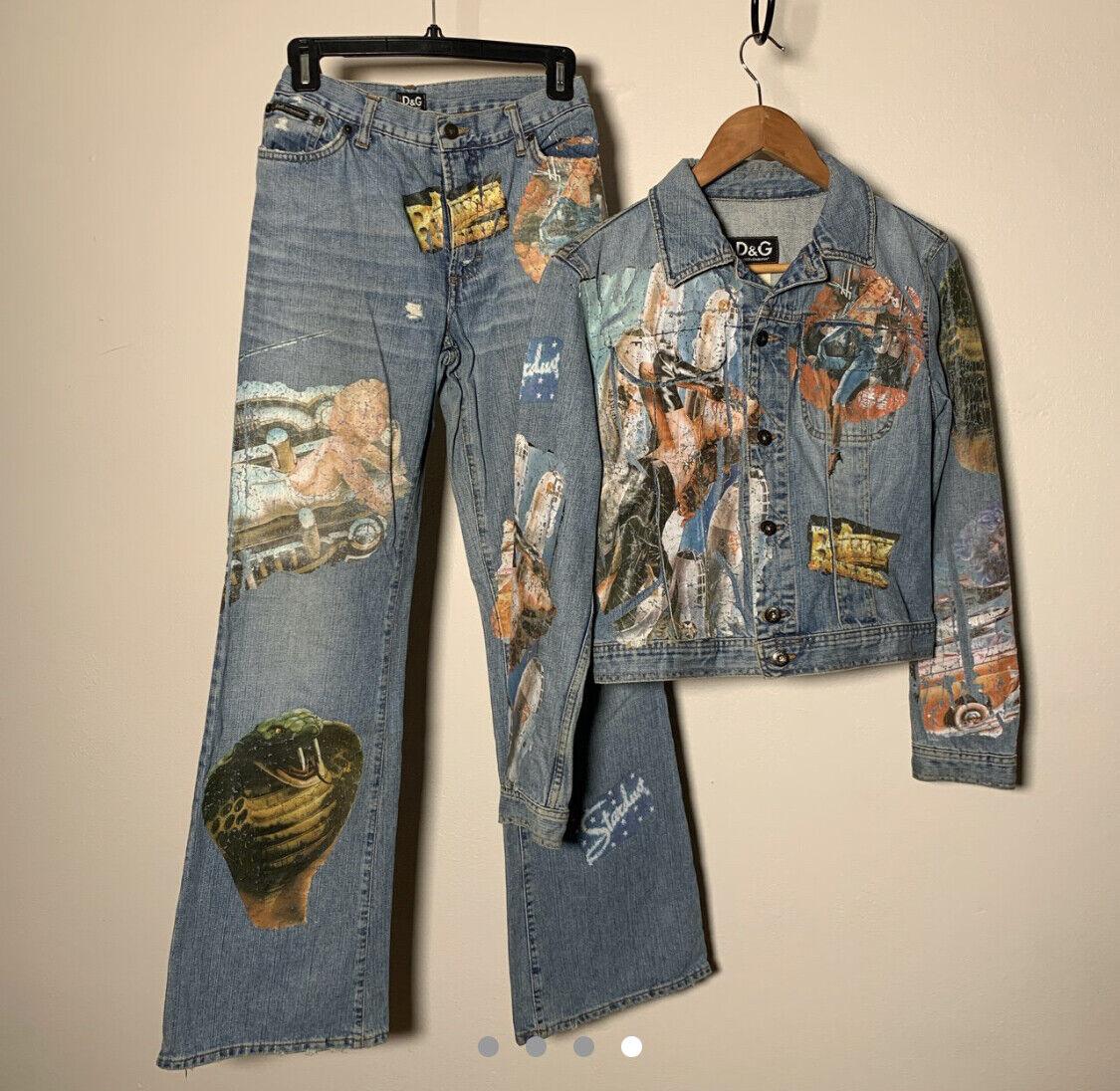 Dolce Gabbana Jean Jacket Pants Vintage 90's Prin… - image 2
