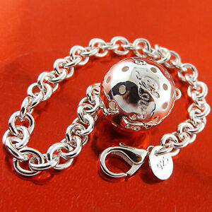 Bracelet-Bangle-925-Sterling-Silver-S-F-Solid-Link-Ladies-Bead-Ball-Charm-Design