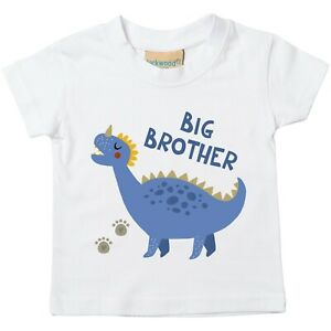 Blue-Dinosaur-Big-Brother-Toddler-T-Shirt-Printed-Gift-Top-Pregnancy-Reveal