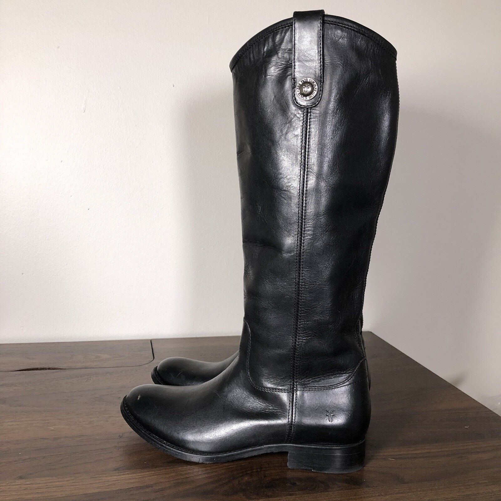 Frye Womens Boots Size 6 Melissa Button 2 Black Tall Leather Riding