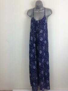 WOMENS-FRENCH-CONNECTION-BLUE-WITH-WHITE-FLOWERS-SUMMER-LONG-MAXI-DRESS-SIZE-S