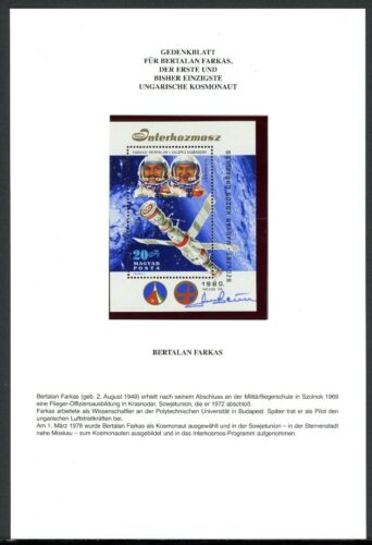 BW7198 Gedenkblatt mit Ungarn Block 143 mit Autogramm Bertalan Farkas