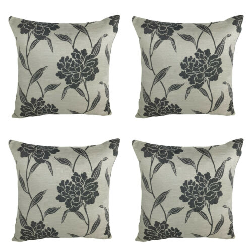 """X4 FILLED CUSHIONS Silver with Grey Floral Design Corded Thick Fabric 17 x 17/"""""""
