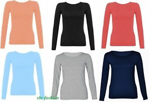 Childrens-Kids-Long-Sleeve-Round-Neck-Top-Dance-Plain-Basic-Tshirt-Tops-2-13