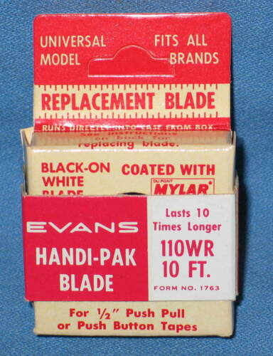 """Vintage EVANS 1//2/"""" x 10/' Tape Measure Replacement Blade #110WR NEW"""