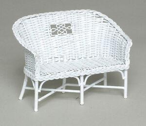 Dollhouse Miniature White Rattan Wicker Look Garden Bench, AL075