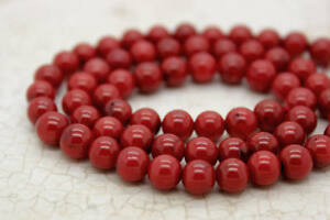 Red-Coral-Smooth-Round-Beads-Natural-Stone-Gemstone