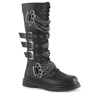 Demonia Bolt-450 Men's Gothic Goth Punk Rock Biker Knee High Combat Chain Boots