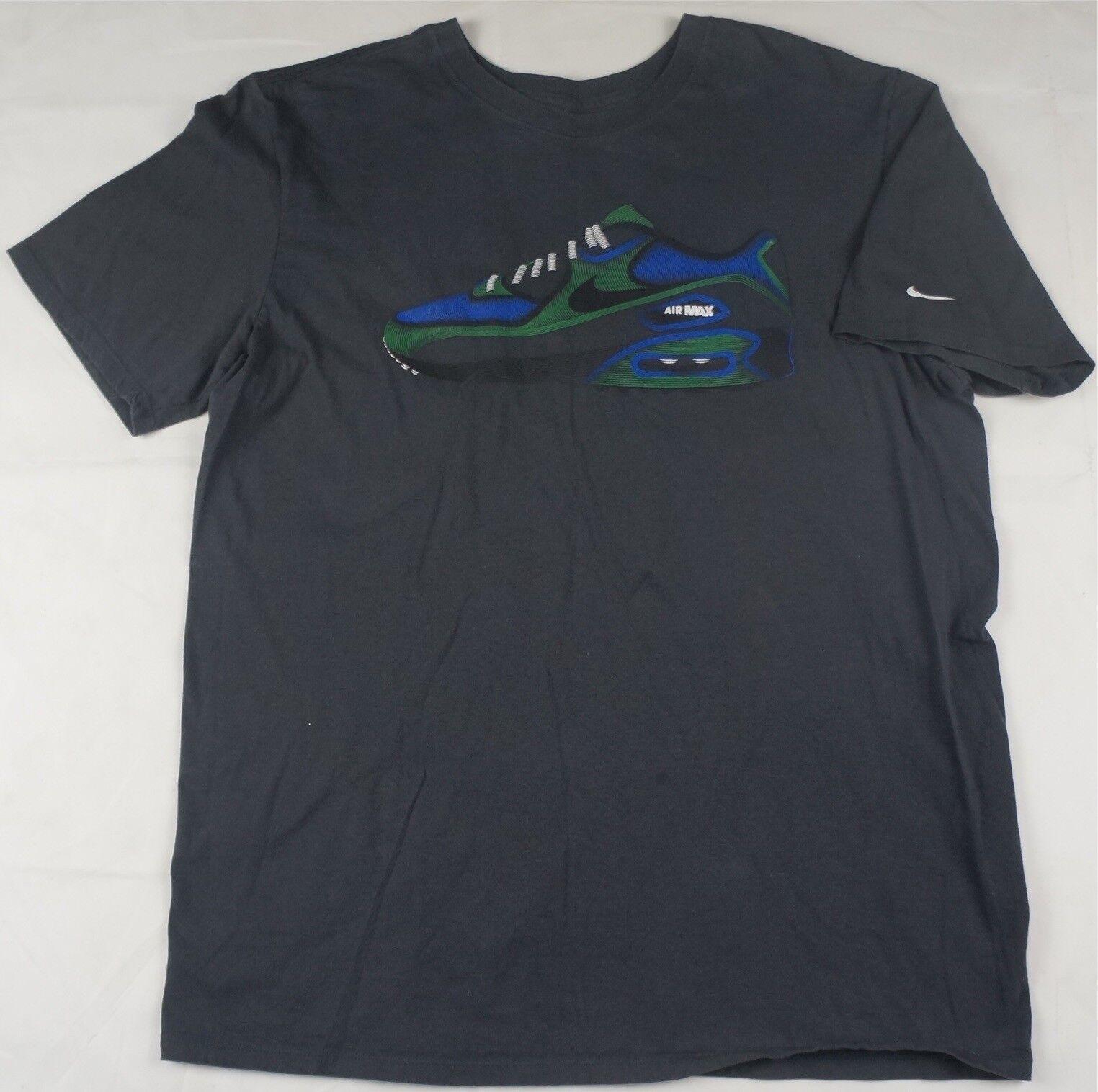 Raro Vintage NIKE Air Max Spell Out zapatos Zapato con logo Camiseta 90s Charcoal SZ L