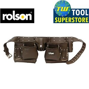 Rolson-Heavy-Duty-10-Pocket-Professional-Double-Pouch-Tanned-Leather-Tool-Belt